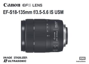 Canon EF-S 18-135mm f/3.5-5.6 IS USM instruction manual (reprint)