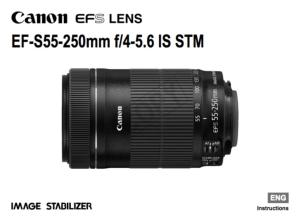 Canon EF-S 55-250mm f/4-5.6 IS STM instruction manual (reprint)