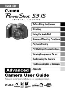 Canon PowerShot S3 IS instruction manual (reprint)