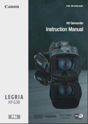 Canon HF G30 Camcorder instruction manual (reprint)