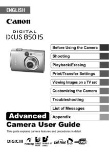 Canon IXUS 850 IS instruction manual (reprint)