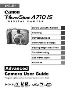 Canon PowerShot A710 IS instruction manual (reprint)