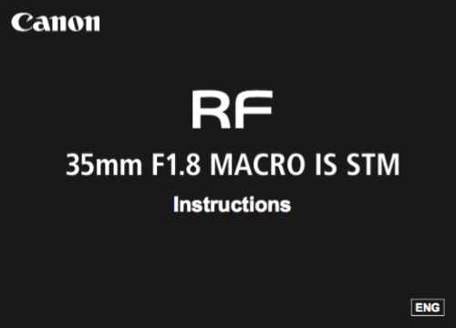 Canon RF 35mm F1.8 IS STM instruction manual (reprint)