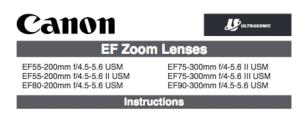 Canon EF 55-200mm f/4.5-5.6 USM instruction manual (reprint)