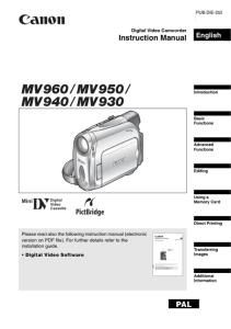 Canon MV960 / MV950 / MV940 / MV930 instruction manual (reprint)