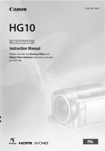 Canon HG10 instruction manual (reprint)