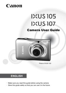 Canon IXUS 105 / 107 instruction manual (reprint)