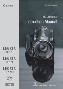 Canon HFS20/ 21/ 200 instruction manual (reprint)