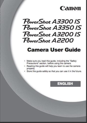 Canon PowerShot A3200 / A3300 / A3350 / A2200 IS  instruction manual (reprint)