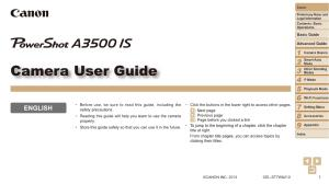 Canon PowerShot A3500 IS instruction manual (reprint)