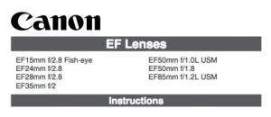 Canon EF 24mm f/2.8 instruction manual (reprint)