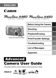 Canon PowerShot A460 / A450 instruction manual (reprint)