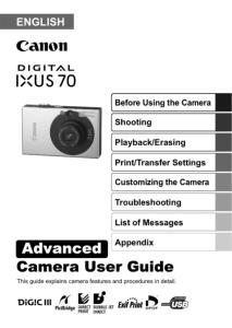 Canon IXUS 70 instruction manual (reprint)