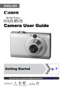 Canon IXUS 85 IS instruction manual (reprint)