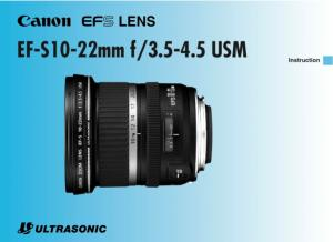 Canon EF-S 10-22mm f3.5-4.5 USM instruction manual (reprint)