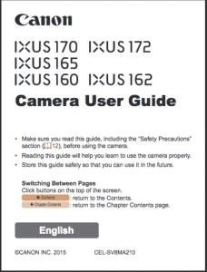 Canon IXUS 170 / 172 / 165 / 160 / 162 instruction manual (reprint)