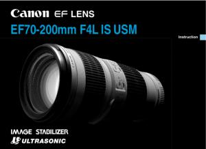 Canon EF 70-200mm f4L USM instruction manual (reprint)