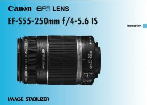 Canon EF-S 55-250mm f4-5.6 IS STM instruction manual (reprint)