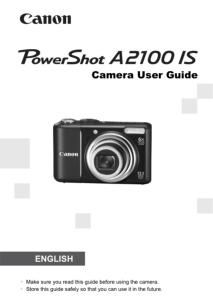 Canon PowerShot A2100 IS instruction manual (reprint)