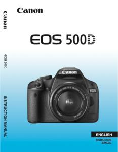 Canon EOS 500D instruction manual (reprint)