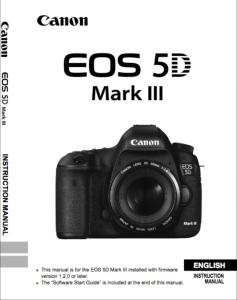 Canon EOS 5D Mark III instruction manual (reprint)