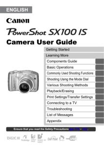 Canon PowerShot SX100 IS instruction manual (reprint)