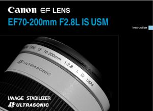 Canon EF 70-200mm f2.8L IS USM instruction manual (reprint)
