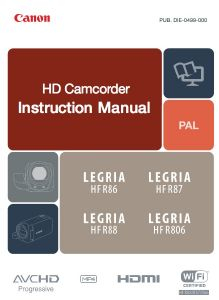 Canon Legria HF R86 R87 R88 R806 instruction manual (reprint)