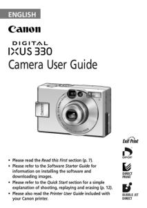 Canon IXUS 330 instruction manual (reprint)