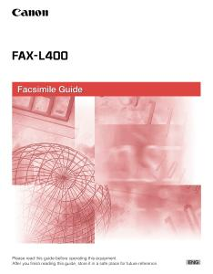 Canon L400 Facsimile instruction manual (reprint)