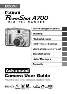 Canon PowerShot A700 instruction manual (reprint)