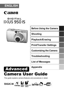 Canon IXUS 950 IS instruction manual (reprint)
