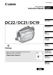 Canon DC22 / DC21 / DC19 instruction manual (reprint)