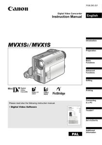 Canon MVX1S / MVX1Si instruction manual (reprint)