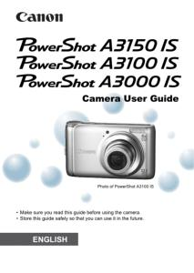 Canon PowerShot A3000 / A3100 / A3150 IS instruction manual (reprint)