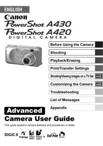canon powershot a420 a430 instruction manual rh eos magazine shop com Canon PowerShot Sx610 User Manual canon powershot a420 manual español