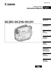 Canon DC201 / DC210 / CD211 Camcorder instruction manual (reprint)