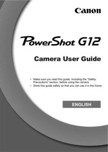 Canon PowerShot G12 instruction manual (reprint)