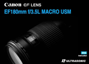 Canon EF 180mm f/3.5L Macro USM instruction manual (reprint)