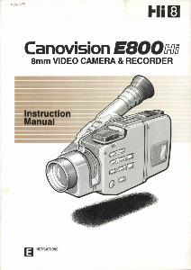 Canon E800 Hi instruction manual (reprint)