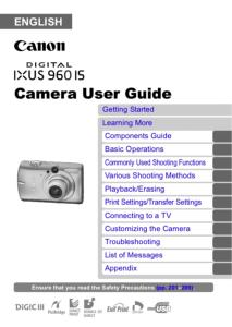 Canon IXUS 960 IS instruction manual (reprint)