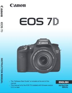 Canon EOS 7D instruction manual (reprint)
