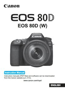Canon EOS 80D instruction manual (reprint)