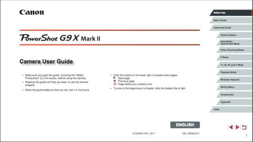 Canon PowerShot G9 X Mark II instruction manual (reprint)