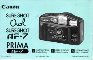 Canon Sureshot AF7 instruction manual (reprint)