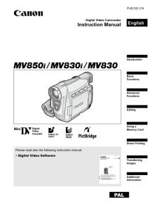 Canon MV850i / MV830i / MV830i instruction manual (reprint)