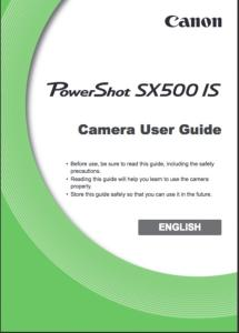 Canon PowerShot SX500 IS instruction manual (reprint)