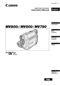Canon MV790 / MV800 / MV800i instruction manual (reprint)