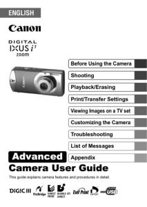 Canon IXUS i7 Zoom instruction manual (reprint)
