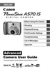Canon PowerShot A570 IS instruction manual (reprint)